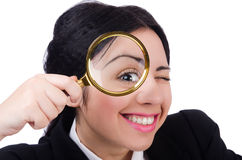 Business woman holding magnifying glass isolated Stock Photos