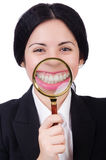 Business woman holding magnifying glass isolated Royalty Free Stock Image
