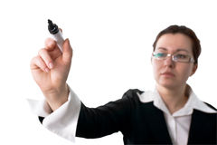 Business woman holding a marker pen Royalty Free Stock Photography