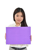 Business woman holding a message board Royalty Free Stock Photos