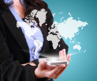 Business woman holding mobile phone with world map template Royalty Free Stock Photography