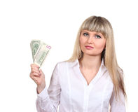 Business woman holding money Royalty Free Stock Images