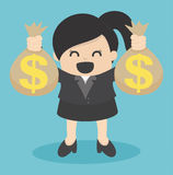 Business Woman holding money bag Royalty Free Stock Photos
