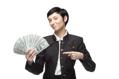Business woman holding money Royalty Free Stock Image