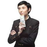 Business woman holding money Stock Photos