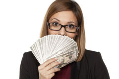 Business woman holding money Stock Images