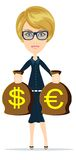Business woman holding money, vector illustration Stock Images