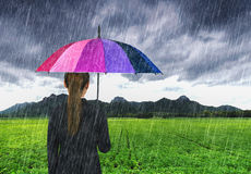 Business woman holding multicolored umbrella with falling rain a Stock Images