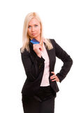 Business woman holding new credit card Stock Image