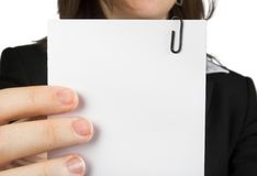 Business woman holding note Royalty Free Stock Images