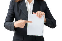 Business woman holding notebook  isolated Royalty Free Stock Images