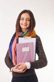 Business woman holding notebooks Stock Photography