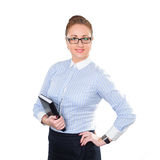 Business woman holding notepad in hand Royalty Free Stock Image
