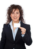 Business woman holding one blank card Stock Images