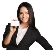 Business woman holding in one hand a blank white Stock Image