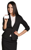 Business woman holding in one hand a blank white Stock Photos