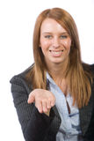Business woman holding out hand Royalty Free Stock Photography
