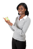 Business woman holding pack of post its notes Stock Photos