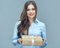 Business woman holding paper gift box Stock Photography