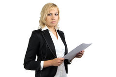 Business woman holding paper sheet Royalty Free Stock Photography