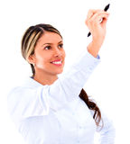 Business woman holding a pen Stock Photography