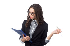 Business woman holding pen in hand Stock Image