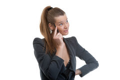 Business woman holding pen in her hand Royalty Free Stock Photos