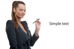 Business woman holding pen in her hand Stock Photo