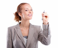Business woman holding a pen isolated Stock Images