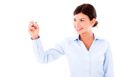 Business woman holding pen Stock Photography