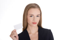 Business woman holding personal card. Stock Photos