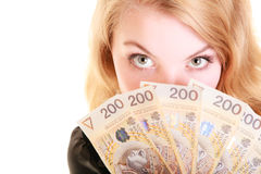 Business woman holding polish currency money banknote. Royalty Free Stock Photos