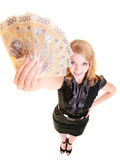 Business woman holding polish currency money banknote. Royalty Free Stock Images