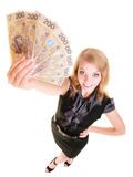 Business woman holding polish currency money banknote. Stock Images