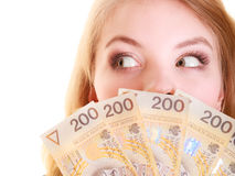 Business woman holding polish currency money banknote. Royalty Free Stock Photo