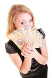 Business woman holding polish currency money banknote. Stock Photography