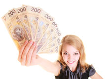 Business woman holding polish currency money banknote. Royalty Free Stock Image