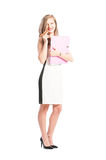 Business woman holding a portfolio and a cuban cigar Royalty Free Stock Photo