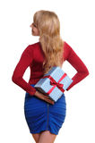 Business woman holding present Stock Photo