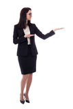 Business woman holding or presenting something isolated on white Royalty Free Stock Photo