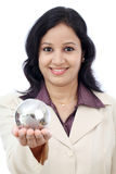 Business woman holding puzzle globe Royalty Free Stock Photos