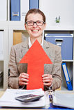 Business woman holding red arrow up Stock Photo