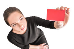 Business woman holding red credit card Royalty Free Stock Photos