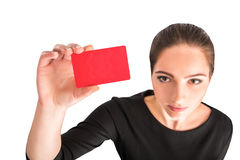 Business woman holding red credit card Stock Photography