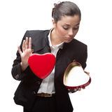 Business woman holding red heart Stock Image