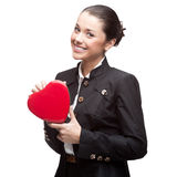 Business woman holding red heart Stock Images
