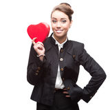 Business woman holding red heart Royalty Free Stock Photography