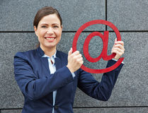 Business woman holding red internet Stock Image