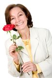 Business Woman holding a red rose Stock Photo