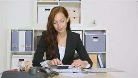 Business woman holding red thumbs up sign stock video footage